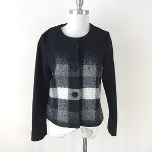 Pendleton M Black Gray plaid Wool Blazer Jacket